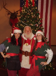 Santa Visits and Entertaining Elves by the Christmas Tree